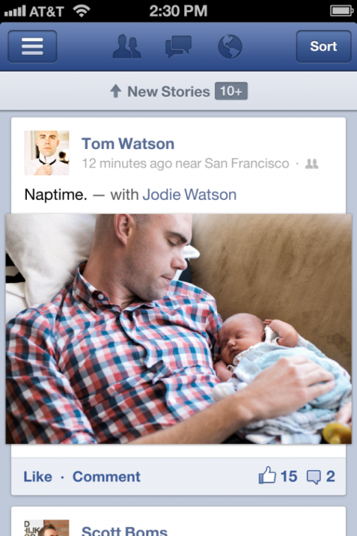 FB IMAGE 520x780 Facebook launches native app for iPhone and iPad, rebuilt from ground up to be twice as fast