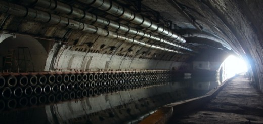 light in the end of tunnel in soviet secret submarine dock