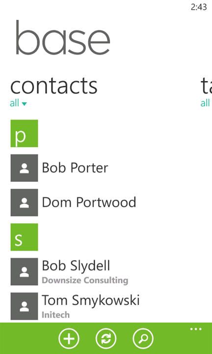 base crm wp7 contacts Base jumps onto the Windows Phone Marketplace with a slick CRM app