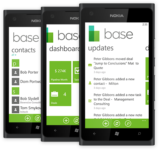 base crm wp7 Base jumps onto the Windows Phone Marketplace with a slick CRM app