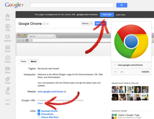 claim 1 520x403 The Google+ custom URL rollout continues: individuals and brands with verified accounts are being notified