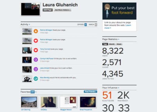 dashboard 520x371 About.me rolls out a new Compliment feature, and gets a redesigned dashboard