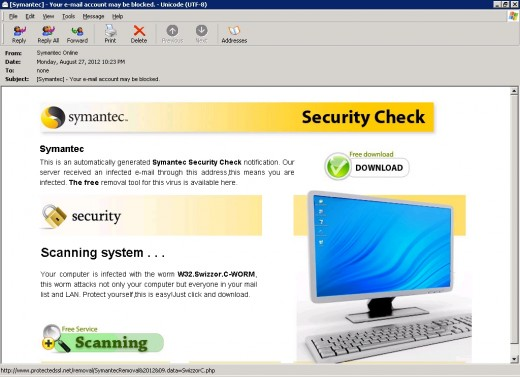 fake symantec notification email 520x377 Warning: Emails claiming to come from Symantec, F Secure, Sophos push malware
