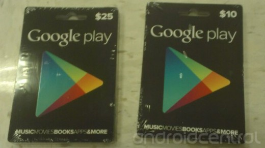 Google Play gift cards appear ready for retail, offer $10 and $25 credits