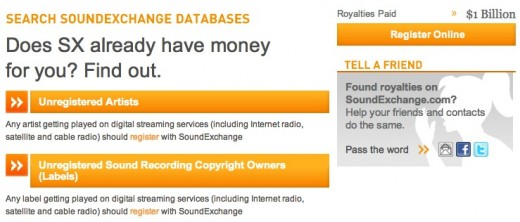soundexchange database 520x222 Make music? Heres how to find out if SoundExchange owes you digital royalties