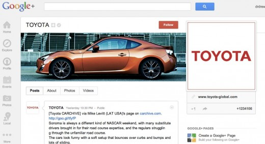 toyota 520x283 About those Google+ vanity URLs: Google has removed the plus. from their promotion