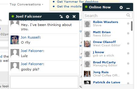 yammer chat2 Microsoft owned Yammer quietly introduces Facebook like live chat feature