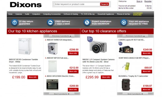 Dixons co uk 520x312 Say goodbye to Dixons.co.uk, the site ceases trading tomorrow