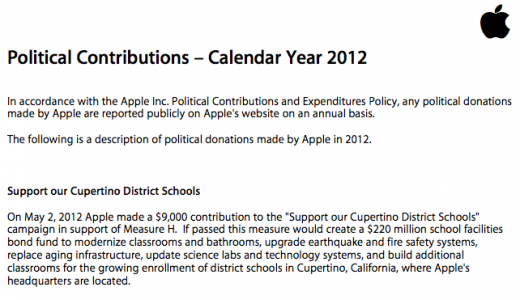 Screen Shot 2012 10 02 at 1.37.14 PM1 520x300 Apples direct political giving in 2012: Its not over $9,000