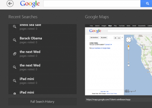 Searchy 520x371 Google Search app launches for Windows 8, and its a gateway to all other Google apps