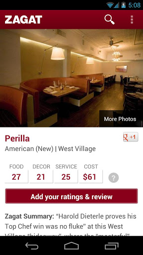 Zagat App1 Zagat rebuilds its Android app, adds a Google+ account requirement