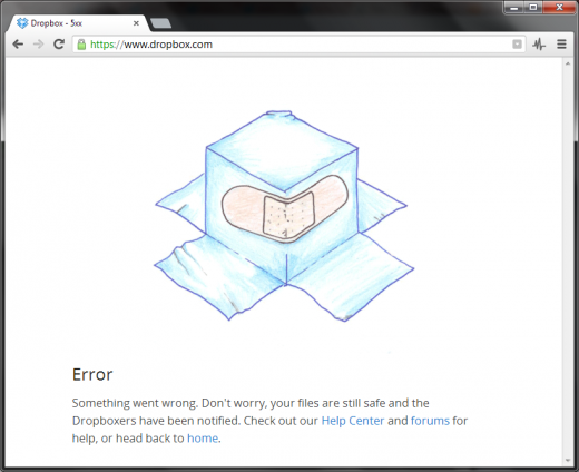 dropbox down 520x424 Major sites and platforms experiencing outages today, including Dropbox and Google App Engine