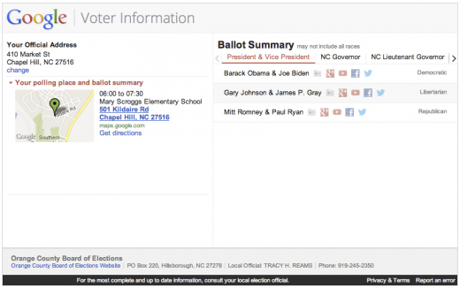 google voter information 520x326 Google launches open source Voter Information Tool in advance of the 2012 US presidential election