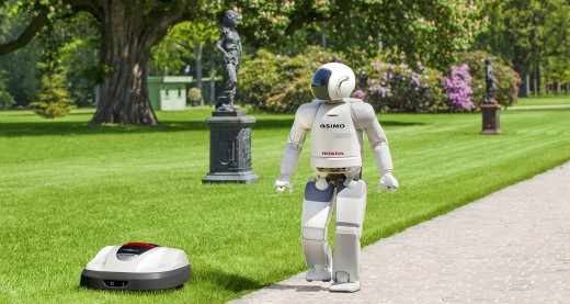 miimo and asimo 520x277 Honda is set to invade UK gardens with the Miimo robot lawn mower