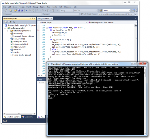 nacl debugger 520x482 Google releases Native Client debugger, Visual Studio add in to help developers focus on coding