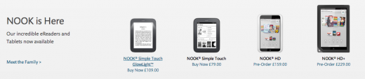 nook 520x113 Barnes & Nobles NOOK Simple Touch Glowlight goes on sale in the UK, tablets now available to preorder