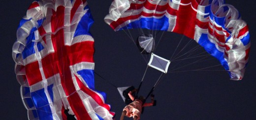 Actors dressed to resemble Britain's Queen Elizabeth II and James Bond parachute into the stadium during the opening ceremony of the London 2012 Olympic Games at the Olympic Stadium in London on July 27, 2012.    AFP PHOTO / OLIVIER MORIN        (Photo credit should read OLIVIER MORIN/AFP/GettyImages)