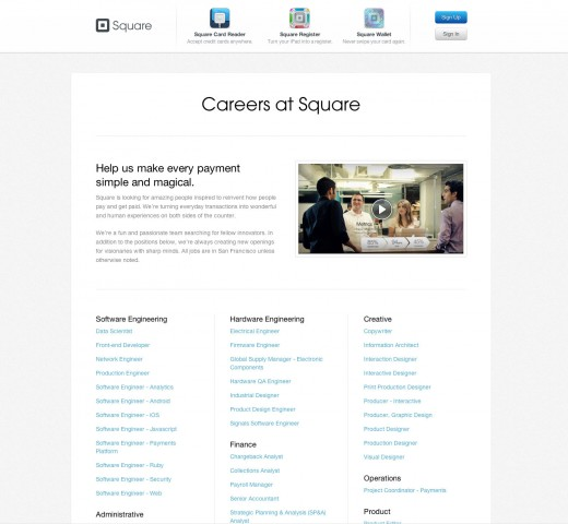 square jobs page 01 520x480 Square updates its jobs section to help meet its goal of hiring 1,000 new people by 2013