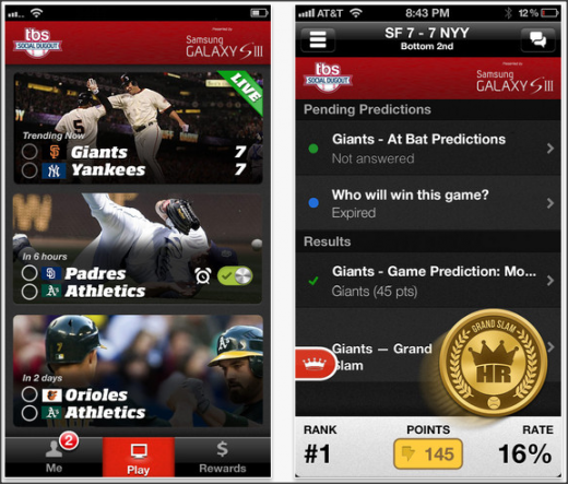 tbs socialdugout screen01 520x443 TBS launches its Social Dugout app in time for the MLB playoffs and rewards you for watching