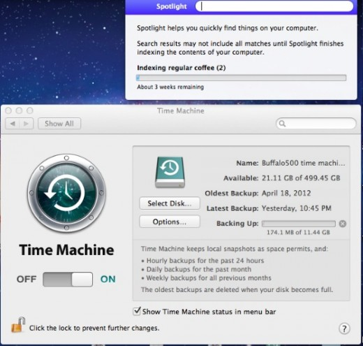 timemachine spotlight 520x495 Users are having issues with Time Machine and Spotlight in Apples OS X 10.7.5