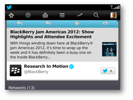 twitter 2 520x394 Twitter for BlackBerry updated with expanded tweets and a quick follow button