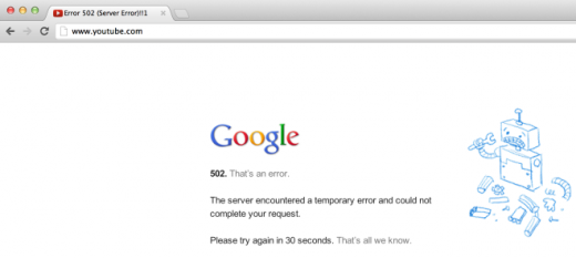 youtube server error 520x233 YouTube is down for some as users report unreliable service for several hours