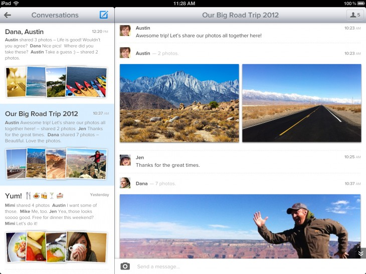 4 convo ipad 730x547 With 250m+ photos viewed, Cooliris updates iOS app, grabs pics from Google Drive, Flickr, others