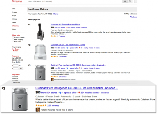 IceCreamMaker11.11.12 520x377 Google Shopping gets social with Google+ integration for reading and writing reviews