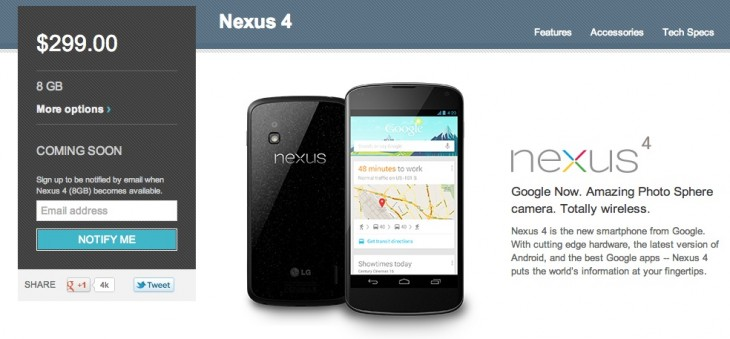 Screen Shot 2012 11 13 at 9.19.58 AM 730x339 Googles Nexus 4 site shows stock out in US, but some users still able to purchase