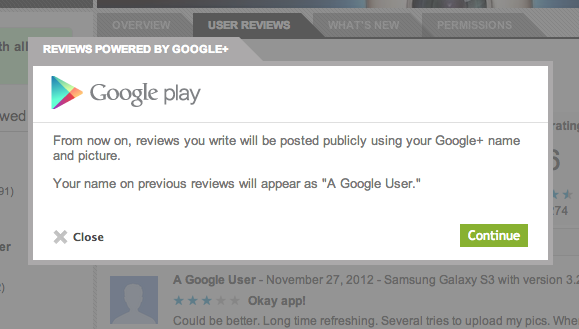 Screen Shot 2012 11 27 at 07.24.03 Google connects its Play Store with Google+, public reviews will now feature your name and picture
