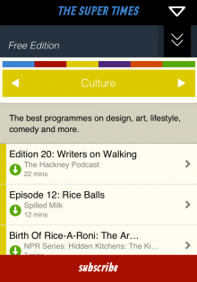 Screenshot3 220x314 The Super Times brings curated podcast playlists offline via a sweet iOS app