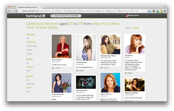 Twtrland New York celebrity women 730x468 Twtrland: A beautifully simple way to discover people and places on Twitter