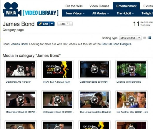Wikia Video Library Screenshot 520x437 Wikipedias for profit cousin Wikia unveils its new Lightbox video player and a slew of syndication deals