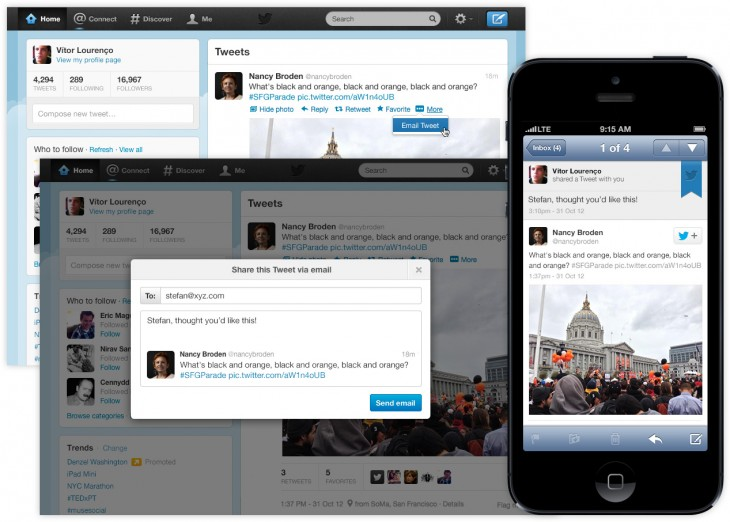Twitter enables sharing tweets by email from the site in an effort to organically increase awareness