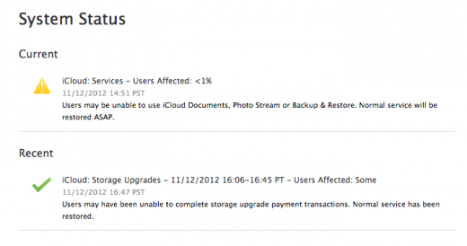 icloud outage 520x274 iCloud experienced minor service outage affecting Documents, Photo Stream and Backup & Restore [update]