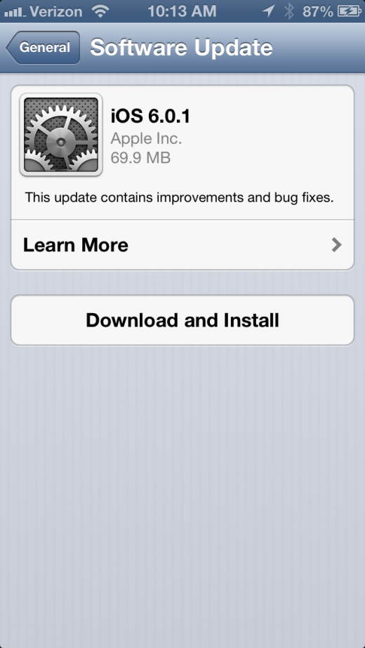 photo 3 520x923 Apple releases iOS 6.0.1, bringing fix for iPhone 5 OTA updates, keyboard glitches, WiFi performance and more