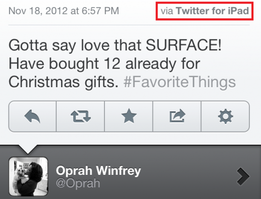 photo 520x395 Oprahs attempt to promote the Microsoft Surface backfires: iPad used to send tweet