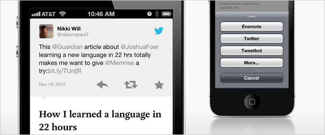 pocket app via pocket blog Pocket updates its iOS app, improves sharing via Evernote, Twitter and Tweetbot