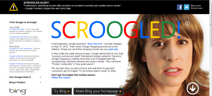 scroogled 730x331 Microsoft takes aim at Googles Shopping listings with new Dont get Scroogled Bing campaign