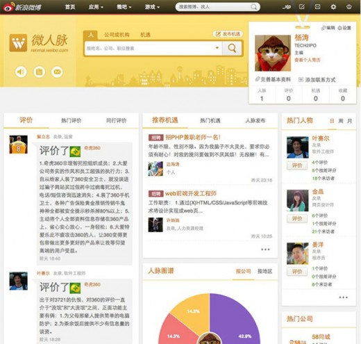 sina weibo crop 520x495 Sina Weibo challenges LinkedIn with its own business focused social network