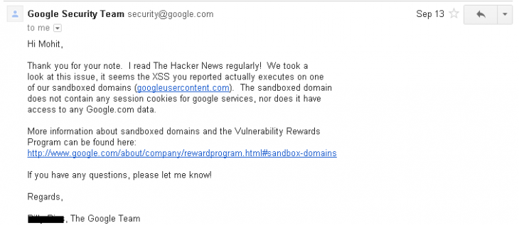thehackernews email 730x317 Security loophole allows hackers to create phishing scam hosted on Google.com (updated)