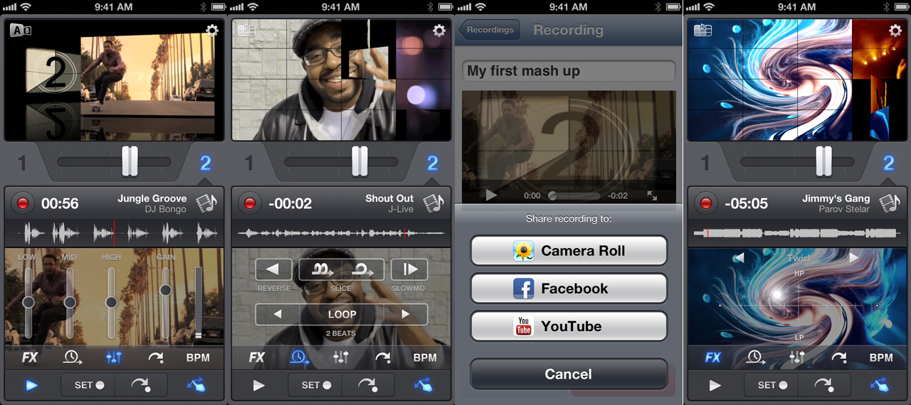 vjay i screens Algoriddim releases vjay video and music mixing app for iPod touch and iPhone