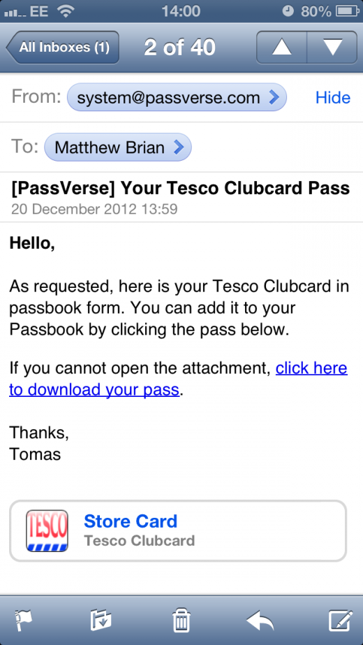IMG 4805 520x923 Every Little Helps: Tescos Clubcard is now (unofficially) Passbook ready