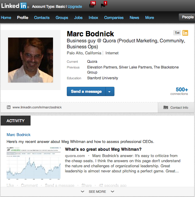 Screen Shot 2012 12 04 at 2.38.03 PM Quora users can now share contributions on LinkedIn, post answers directly to their profiles