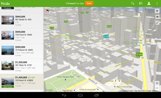 Trulia Screenshot 520x315 Google launches new Maps API with better tablet maps, Google Play services, new layers and more