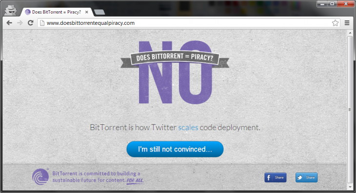 bittorrent no piracy 730x396 BitTorrent distances itself from piracy by claiming connection to Facebook, Twitter code deployment