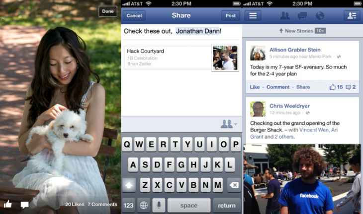 facebook ios 730x432 Facebook for iOS gets faster News Feed and Timeline, lets you choose an album when uploading photos