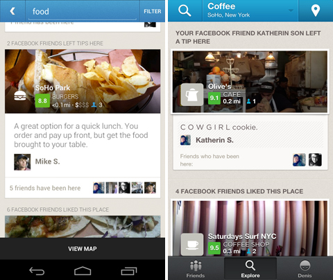 fb explore Foursquare now shows you recommendations from your Facebook friends on the Web, Android, and iPhone