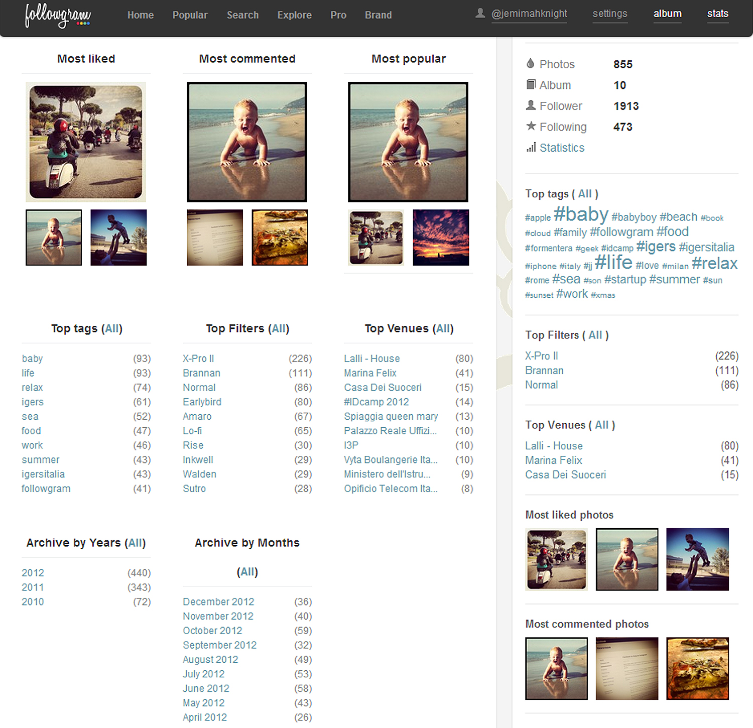 followgram stats screen Instagram web platform Followgram launches stats and tag features for marketeers