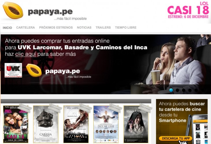 papaya home 730x497 Peruvian movie portal Cinepapaya announces funding from 500 Startups, eyes Latin America